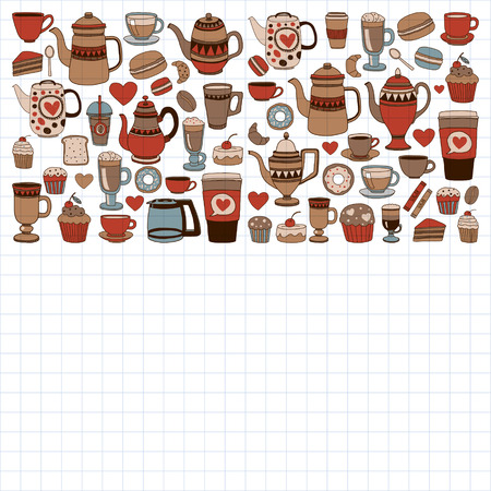 Doodle set of coffee shop items with seamless pattern Hand drawn images 向量圖像