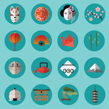 sanctuaries: Vector set of japanese icons for any kind of design