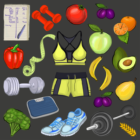 Healthy lifestyle icons Seamless vector pattern for any kind of design