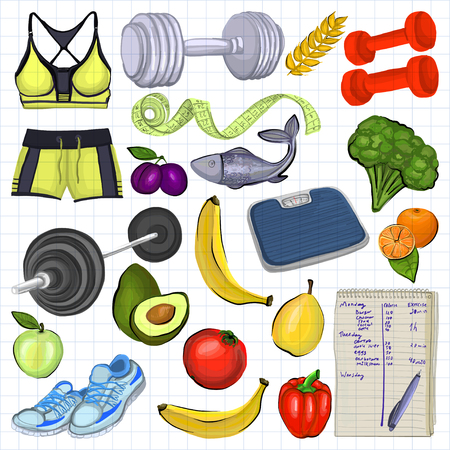 sport woman: Healthy lifestyle icons for any kind of design Illustration