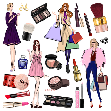 Hand drawn set with cosmetics and accessories Vector images