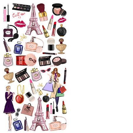 maquillage: Hand drawn set with cosmetics and accessories Vector images