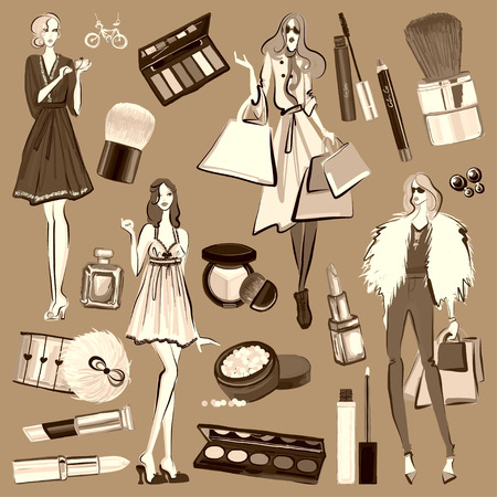 goodliness: Hand drawn set with cosmetics and accessories Vector images