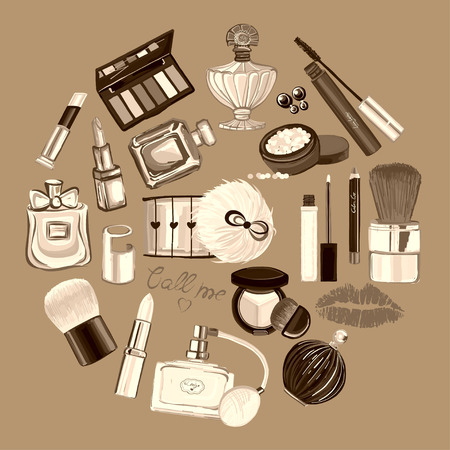 toiletry: Hand drawn set with cosmetics and accessories Vector images