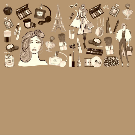 goodliness: Banner with seamless  pattern Cosmetics and accessories  Vector images