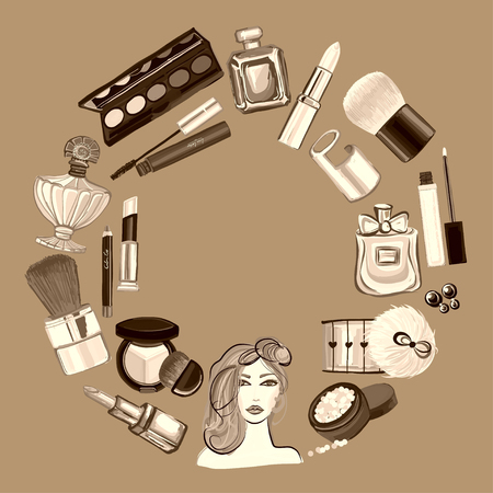 presence: Hand drawn set with cosmetics and accessories Vector images
