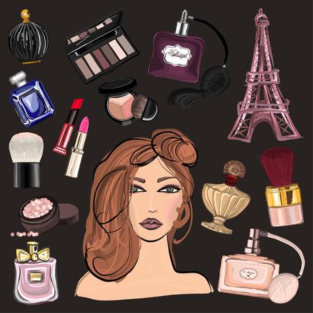 Disegno a mano immagini cosmetici e profumi per ogni tipo di disegno Vettoriali