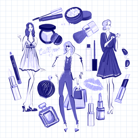 pomade: Hand drawn images Cosmetics and Perfume For any kind of design