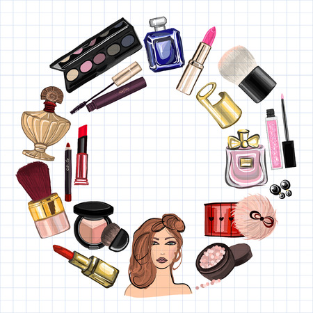 visagiste: Hand drawn images Cosmetics and Perfume For any kind of design