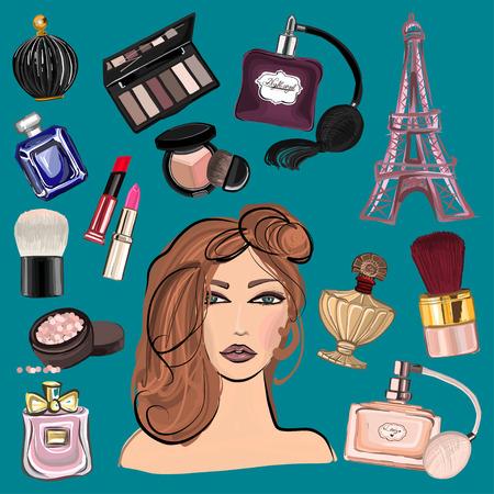 Disegno a mano immagini cosmetici e profumi per ogni tipo di disegno