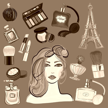 perfumery: Hand drawn images Cosmetics and Perfume For any kind of design
