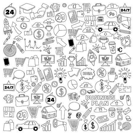 Vector conjunto de iconos de negocios doodle de negocio de la comercialización en línea de compras Banco de inicio Reunión de reflexión Foto de archivo - 55801988