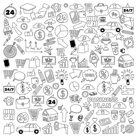 Vector set of doodle business icons Marketing Business Online shopping Bank Startup Brain Storm 免版税图像 - 55801988