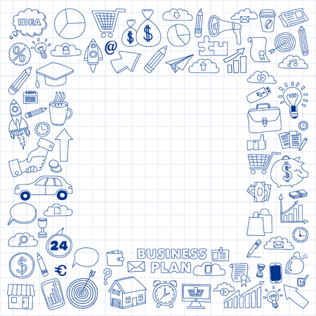 ecommerce icons: Vector set of doodle business icons Marketing Business Online shopping Bank Startup Brain Storm