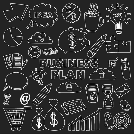brain storm: Vector set of doodle business icons Marketing Business Online shopping Bank Startup Brain Storm
