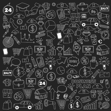basket icon: Vector set of doodle business icons Marketing Business Online shopping Bank Startup Brain Storm