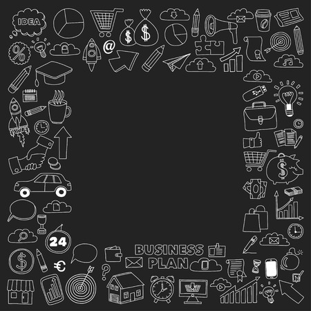 online business: Vector set of doodle business icons Marketing Business Online shopping Bank Startup Brain Storm