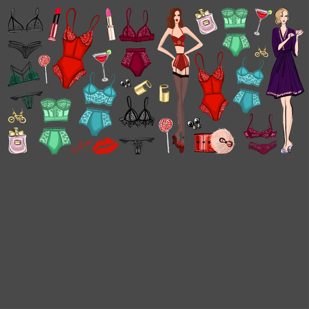 boudoir: Vector set with lingerie and perfume Hand drawn images