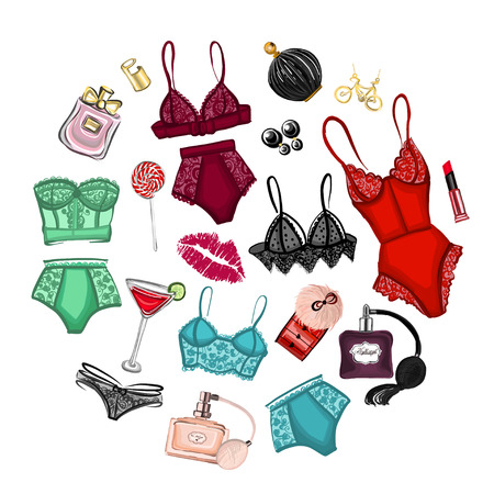 Vector set with lingerie and perfume Hand drawn images