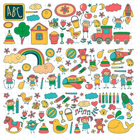 plaything: Vector set of kindergarten images Hand drawn pictures