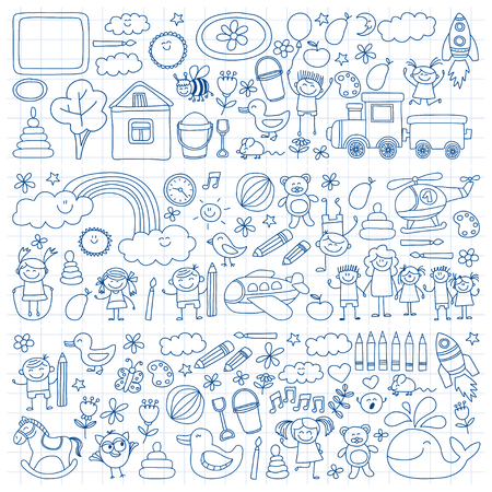 schoolmaster: Vector set of kindergarten images Hand drawn pictures