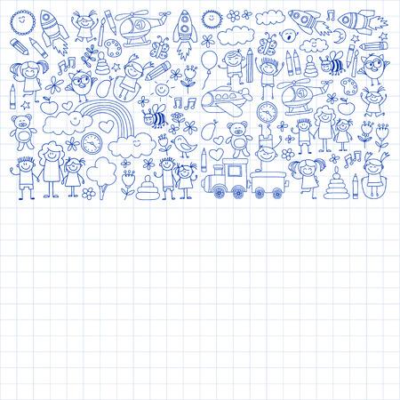 playschool: Vector set of kindergarten images Hand drawn pictures