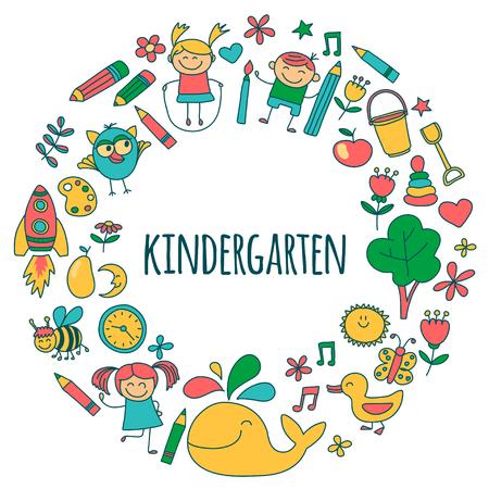 幼稚園画像手書き画像のベクトルを設定  イラスト・ベクター素材
