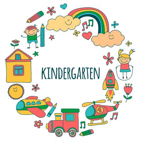 Vector conjunto de imágenes de jardín de infantes imágenes dibujadas a mano Ilustración de vector
