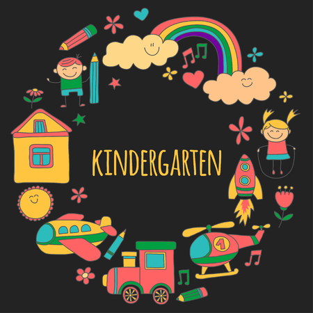 child care: Vector set of kindergarten images Hand drawn pictures