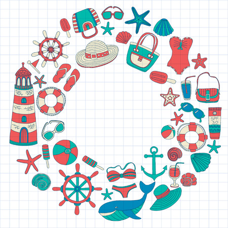 nautic: Big set with doodle images about beach fashion and travel Hand drawn pictures