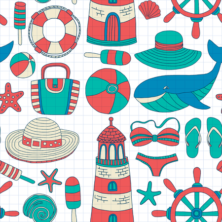 Big set with doodle images about beach fashion and travel Hand drawn pictures