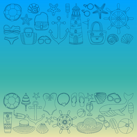 fashion images: Big set with doodle images about beach fashion and travel Hand drawn pictures