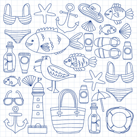 swimwear: Big doodle vector set with hand drawn elements Beach and Travel icons Illustration