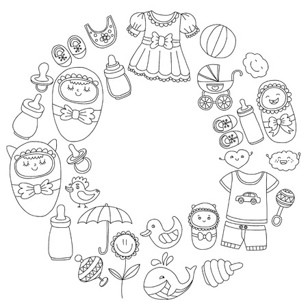 flower bath: Baby icons Hand drawn doodle vector set Linear pictures Illustration