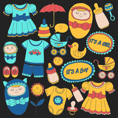 clothing store: Baby icons Hand drawn doodle vector set Linear pictures Illustration