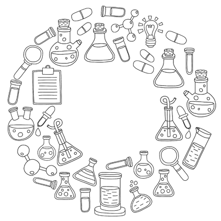 pharmacy pills: Chemistry Pharmacology Natural sciences Vector doodle set Hand drawn images