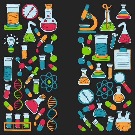 Chemistry Pharmacology Natural sciences Vector doodle set Hand drawn images