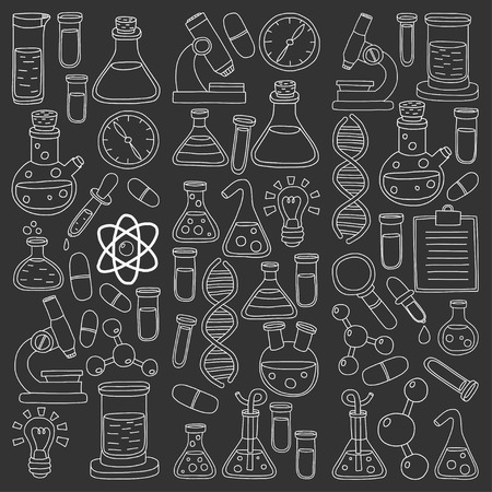natural sciences: Chemistry Pharmacology Natural sciences Vector doodle set Hand drawn images