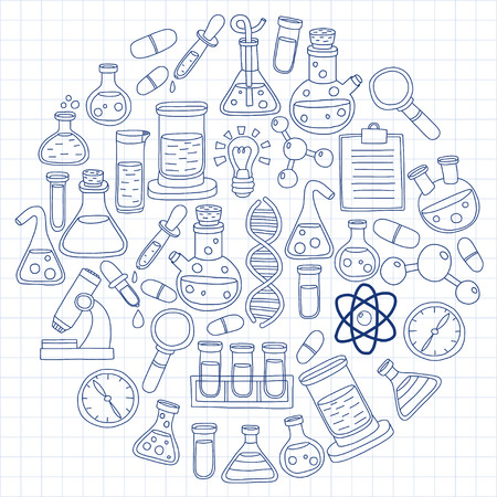 sciences: Chemistry Pharmacology Natural sciences Vector doodle set Hand drawn images