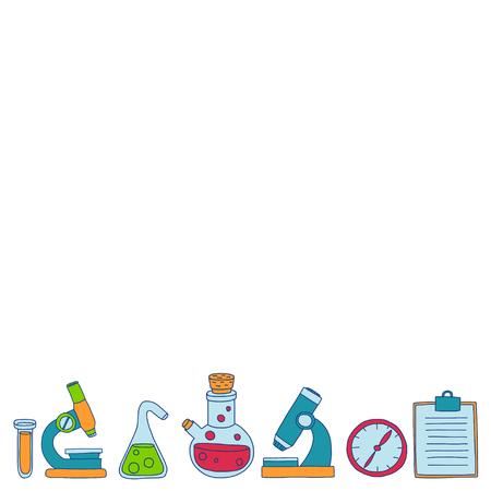 Chemistry Pharmacology Natural sciences Vector doodle set Hand drawn images Ilustração Vetorial