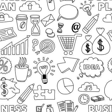Doodle vector seamless pattern with business elements Hand drawn picture