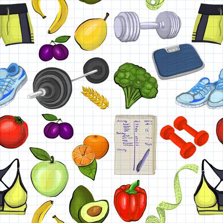 Muster mit Hand gezeichneten Bilder über gesunden Lebensstil Standard-Bild - 56932292