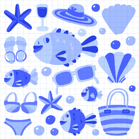 maldives island: Flat hand drawn icons Beach and tropical vacation Doodle style Illustration