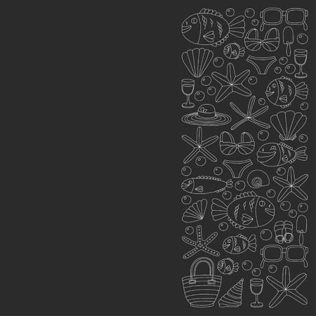 bubble water: Vector doodle pictures of beach vacation and tropical sea life Hand drawn images Illustration