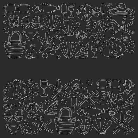 maldives island: Vector doodle pictures of beach vacation and tropical sea life Hand drawn images Illustration