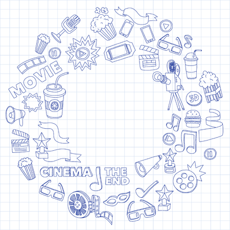 Vector pattern with cinema hand drawn icons Doodle style Illustration