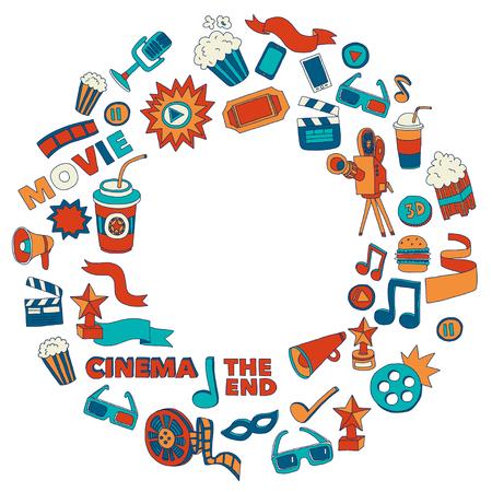 Vector patroon met bioscoop hand getekende iconen Doodle stijl Vector Illustratie