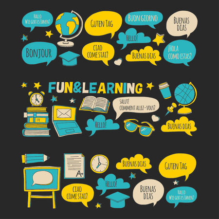 language learning: Language school and foreing language learning Hand drawn images