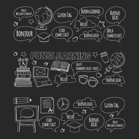 language school: Language school doodle icons on blackboard Hand drawn images Illustration