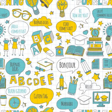 Taalschool lineaire doodle pictogrammen op getrokken notebook papier Hand beelden Stock Illustratie